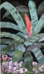 Ten Minute Painting - Pastel Leafy Flower Plant by virtuosoale