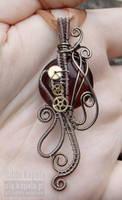 Brown steampunk pendant by ukapala