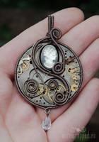 Steampunk cameo watch pendant by ukapala