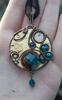 Steampunk pocket watch pendant by ukapala