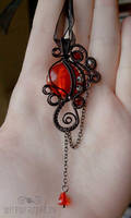 Red gothic pendant by ukapala