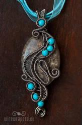 Jasper turquoise pendant by ukapala