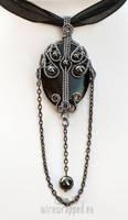 Long gothic black grey pendant by ukapala
