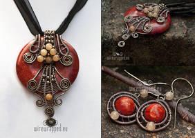 Coral pendant and earrings set by ukapala