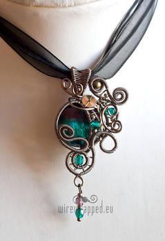 Teal purple steampunk pendant by ukapala