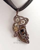 Steampunk owl pendant by ukapala