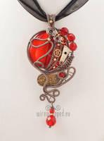 Red round steampunk pendant by ukapala