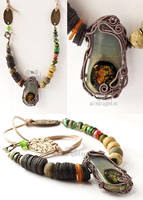 Earthy tones tribal inspired necklace by ukapala