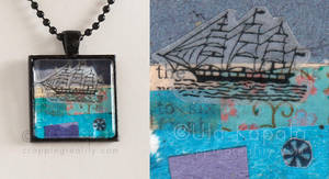 Wearable art - abstract maritime collage pendant by ukapala
