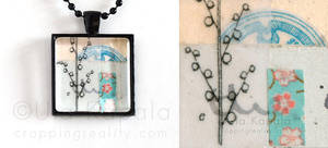 Wearable art - abstract landscape collage pendant by ukapala