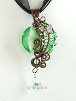 Mint green pendant with butterfly by ukapala