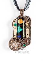 Multicolour steampunk pendant by ukapala
