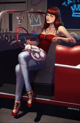 Girl Cat Car by Dmitrys
