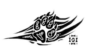Tribal Wolf Pawprint Design by Loneychan