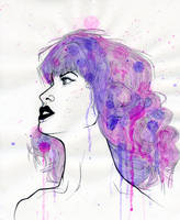 Woman in profile ink and watercolor by cnigrelli185