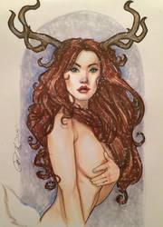Deer Maiden in snow by Rvalenzuela80