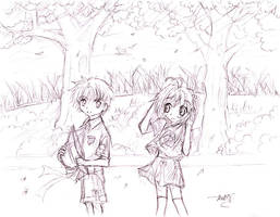 Syaoran and Sakura sketch by ttn008