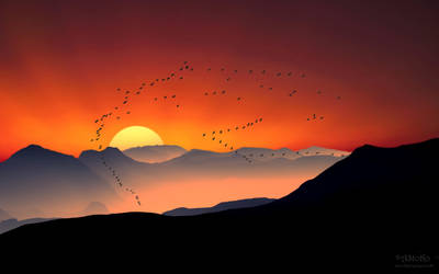 Fly in the sunrise WALLPAPER mcr by AStoKo