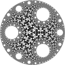 Circle Limit I with circular holes by Vladimir-Bulatov