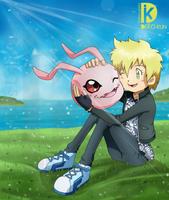 Commission - Jen and Koromon by Deko-kun