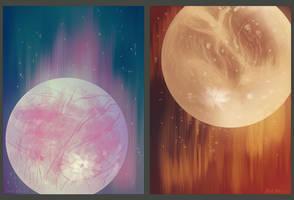 Europa and Ganymede by vmulligan