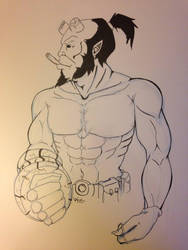 Hellboy - lined by VileVyx