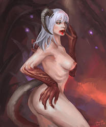 Demoness in Floating Forest by SchwarzesGift411