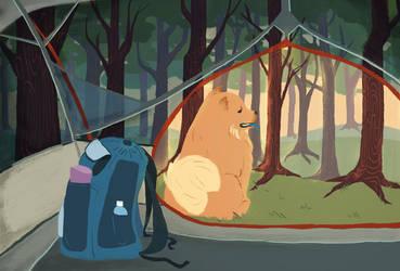 Camping Dog by riiriia
