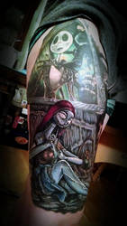 Nightmare Before Christmas Leg Sleeve 2nd Session by greyfoxdie85