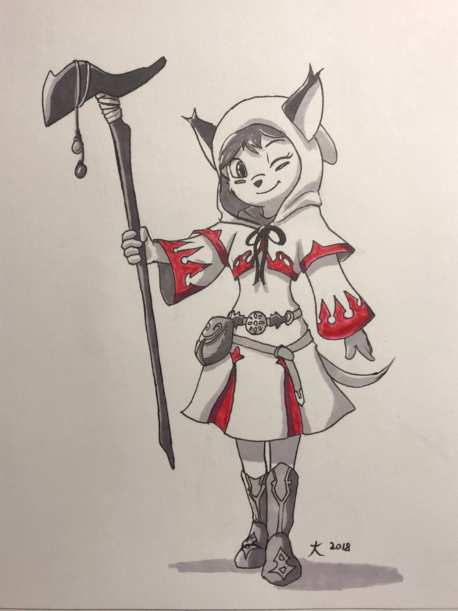 White Mage Caracal - Inktober 2018 by DeannART