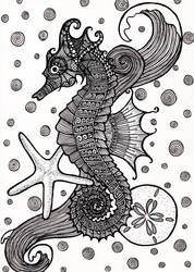 Zentange Seahorse by ambercamiart