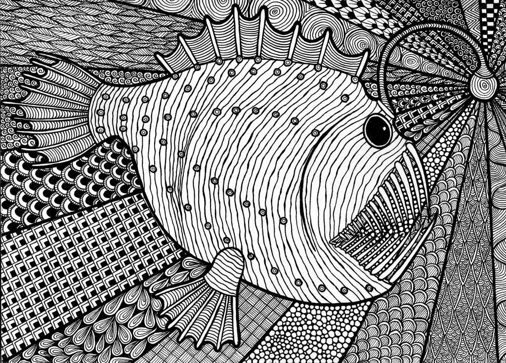Zentangle Anglerfish by ambercamiart
