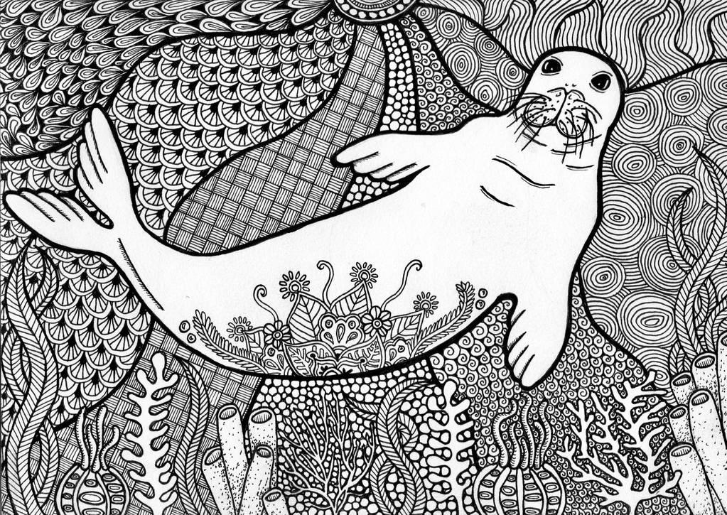 Zentangle Hawaiian Monk Seal by ambercamiart