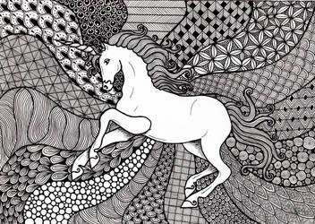 Zentangle Unicorn by ambercamiart