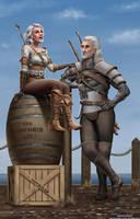 Geralt and Ciri by Rex1us