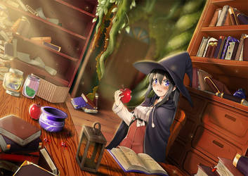 The witch and the apple by MinimimiNeko