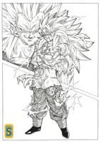 Goku vs Vegeta SSJ3 full power by Blood-Splach