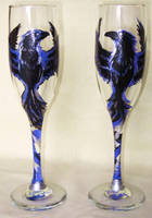 Raven Champagne Flutes - glass enamel painted by Andagora
