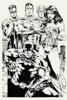 Justice League by Marcio Abreu inks practice by Pendecon