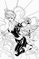 Captain Marvel by Terry Dodson - inks by Pendecon