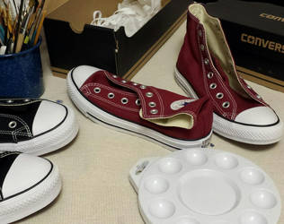 Painting Converse again! by rawrdoodles