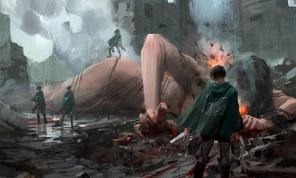 fan art of Attack on Titan by waywayart