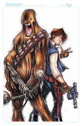 STAR WARS HAN AND CHEWIE  WIP 03 by RobDuenas