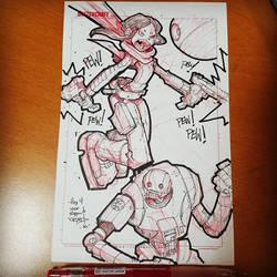 Random Star Wars Sketch - Jyn Erso and K2SO by RobDuenas