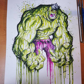 Commission: Hulk Saucy Watercolor Paint by RobDuenas