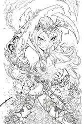 Valkyrie Savior Cover - Linearts by RobDuenas
