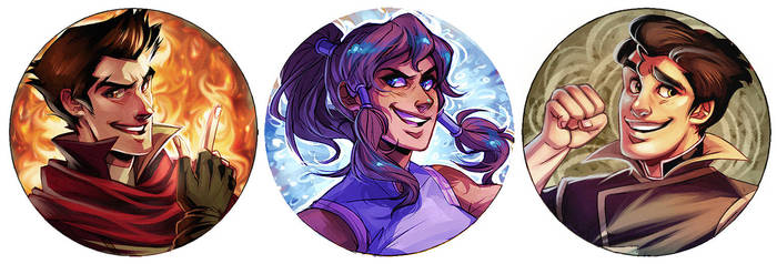 Legend of Korra Buttons Set 1 by stripes-and-teeth
