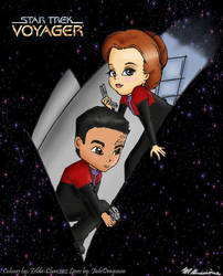 Janeway and Chakotay COLOUR by Zelda-Chan202