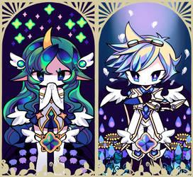 Star Guardian Soraka and Ezreal tarot card by blossomlikereadbook