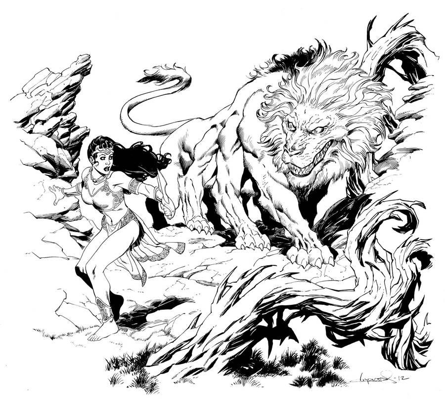 Deja Thoris and the Banth by aaronlopresti